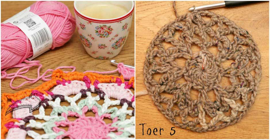 Haakpatroon poef doily toer 5 Jip by Jan